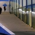 Eintritt mit Beleuchtete Treppengeländer